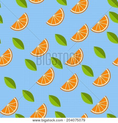 Orange, lemon on blue background. Seamless pattern. Vector illustration.
