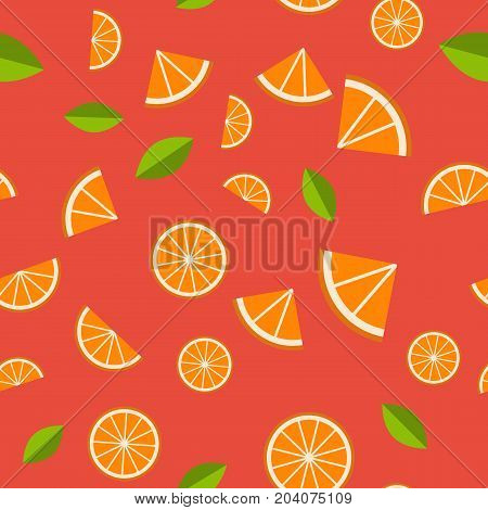 Orange, lemon on red background. Seamless pattern. Vector illustration.