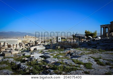 Ancient buildings on Acropolis hill, Athens, Greece