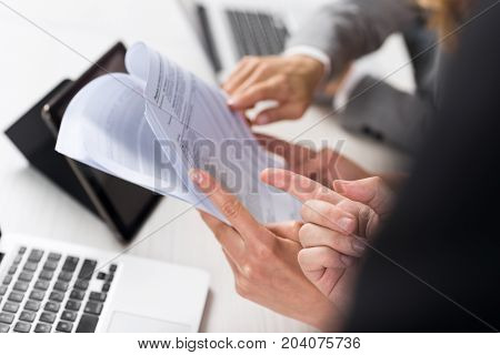 Business Women Work With Documents In Creative Modern Office, Two Businesswoman Teamwork Female Discussing Paper Or File Report Planning Project Together Sitting At Desk