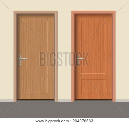 Wooden door set, Interior apartment closed door with iron hinges, Realistic vector Illustration