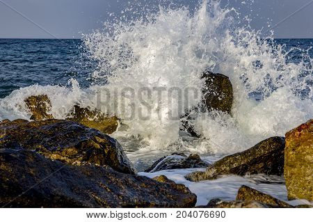 sea waves smashed on rocks. beauty water spray