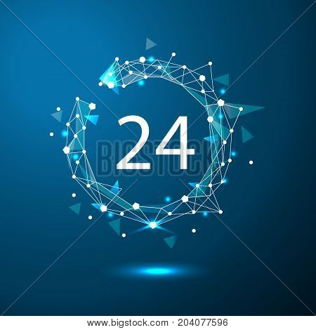 24 hours customer service. Round the clock support symbol.Polygonal space low poly with connecting dots and lines. Connection structure. Vector science background.