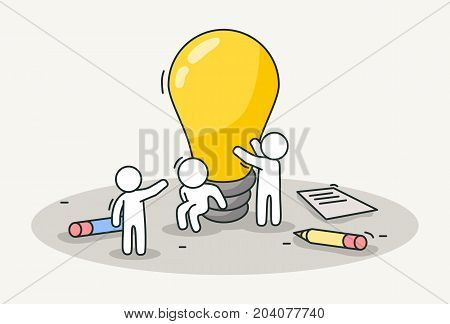 Little white people installing a lamp. Creative idea, teamwork and inspiration concept. Hand drawn cartoon or sketch design. Vector illustration