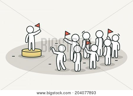 Little white people with leader on celebration or political action. Protest and leader concept. Hand drawn cartoon or sketch design. Vector illustration