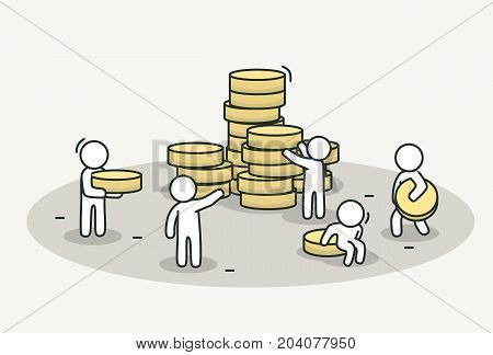 Little white people bring coins to stack. Teamwork, investment or bank concept. Hand drawn cartoon or sketch design. Vector illustration