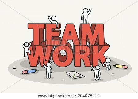 Little white with team work text. Teamwork and success concept. Hand drawn cartoon or sketch design. Vector illustration