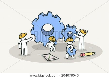 Little white people working installing gears. Technology work, teamwork and professional concept. Hand drawn cartoon or sketch design. Vector illustration