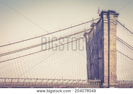 New York USA - 28 September 2016: Close up image of the Brooklyn Bridge which joins the Manhattan and Brooklyn Boroughs of New York.