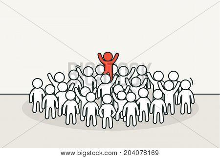 Little white people with unique one. Creative idea, unusual person concept. Hand drawn cartoon or sketch design. Vector illustration