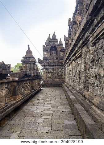Stoned path at Prambanan temple near Yogyakarta on Java island Indonesia.