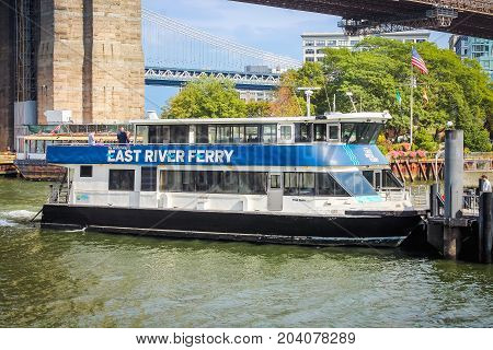 New York USA - 28 September 2016: Close up image of the East River Ferry which transitioned to the NYC Ferry Service in 2017.