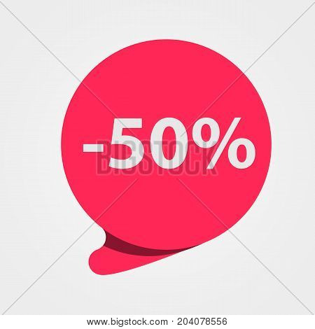 Special offer sale red tag. Discount, offer price label, symbol for advertising campaign. 50 percent off discount sticker. Vector illustration
