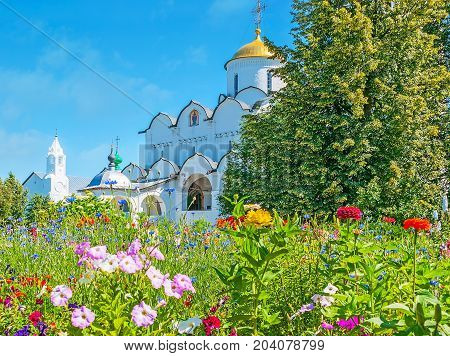 The Suzdal Intercession Cathedral Through The Flowers