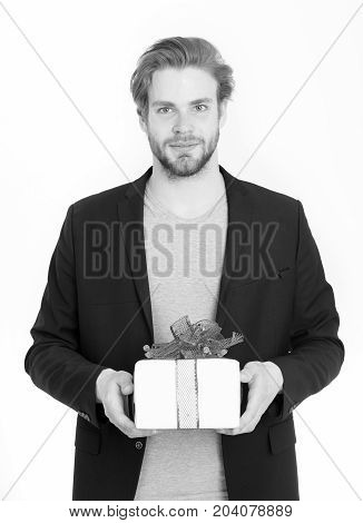 Handsome Bearded Happy Man With Present Box In Red Ribbon