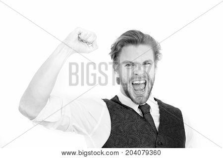Successful Bearded Man Or Happy Gentleman In Waistcoat And Tie