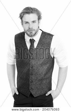 Man Or Confident Gentleman In Waistcoat And Tie