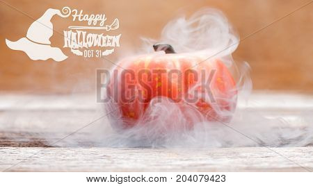 Halloween background spooky pumpkin with smoke. Autumn holiday