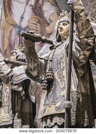 Sevilla, SPAIN -September 9, 2017: Tomb of Cristobal Colon of the Cathedral of Seville, Located in front of the door of the princes or San Cristobal, Andalusia, Spain