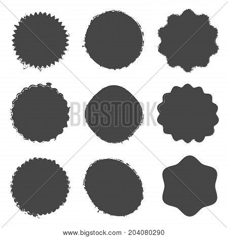 Grunge circle post stamp mockups set of distressed overlay circular mark texture for your design. Logos, Icons, Banners, insignias , labels and Badges. Distress blank shapes collection. EPS10 vector.