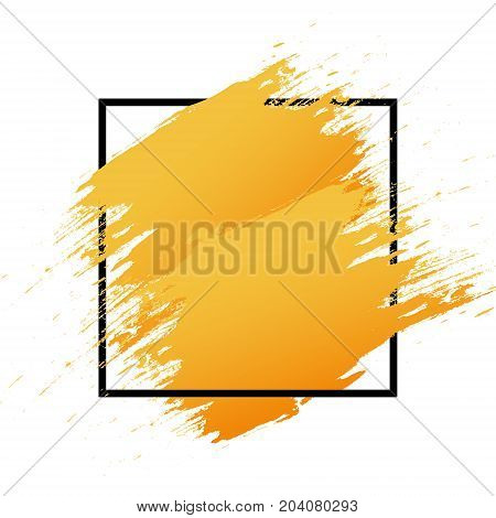 Orange Logo Art Brush Paint Vector. Original Grunge Brush Art Abstract Texture Background Design Acr