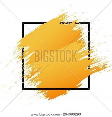 Orange Logo Art Brush Paint Vector. Original Grunge Brush Art Abstract Texture Background Design Acr