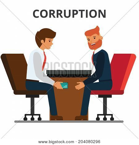 Businessman giving bribe money. Corruption, bribery. venality, kickback. Corrupted bureaucracy. Flat vector illustration isolated on white background.