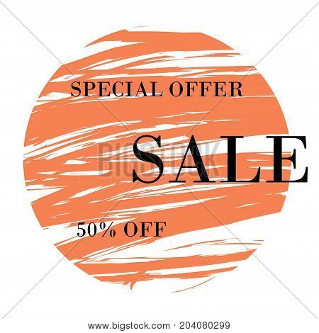 Autumn Sale. Special offer banner with handwritten text design and orange circle brush stroke background for business promotion and advertising. Vector illustration.