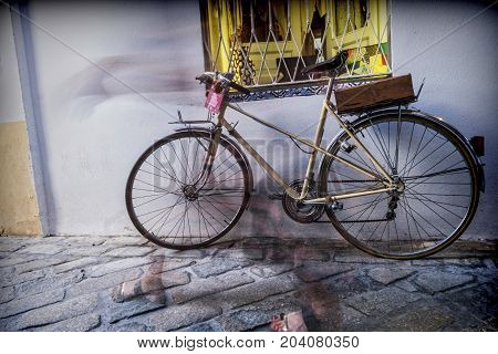 Bicycle parked in the street