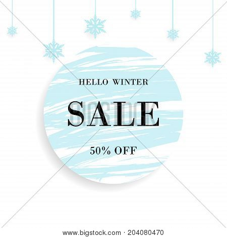 Winter Sale. Special offer banner With lettering hello winter christmas ball and snowflakes design element and blue circle brush stroke background for business promotion and advertising.