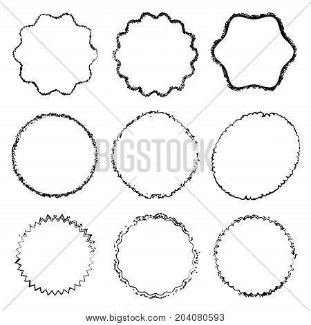 Circle Stamp set Decorative background. Black grunge scratched overlay circular texture collection. Thin messy edge button icon logo lable or badge cover. Distress stroke cover template. EPS10 vector.