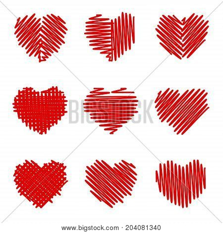 Felt pen painted valentine hearts set. Different shaded holiday love symbol. Cute Romantic sign doodles like. Textured wish pictogram. Pencil stroke line shape. Isolated design element. EPS10 vector.