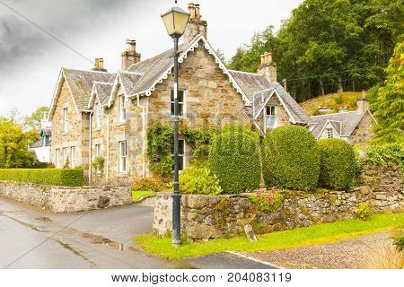 a typical Scottish brick and stone house Fortingall Scotland