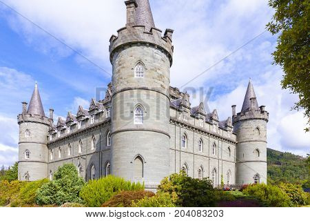 Invereray - august 2014: this castle located in Argyll County is a must for every traveler in Scotland. In August you can visit the sumptuous interiors and the beautiful garden and at the end of the visit you can taste a tea at the café of the castle