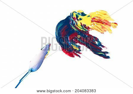 Multicolor oil paint brush strokes with knife isolated on white background. Flat lay style. Art and  education concept.