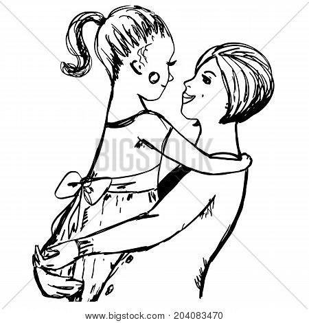Hugs with mom. Hand drawn sketch with woman and little girl on her hands. Mother, daughter. Lovely family for prints, posters, covers, design, coloring book pages, t-shirt design. Cartoon characters.
