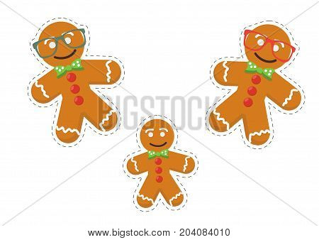 Gingerbread men stickers vector templates. Christmas traditional sweet cookies or biscuits characters made in a cartoon style. Great also as Gingerbread men stickers for Saint Nicholas Day or Feast.