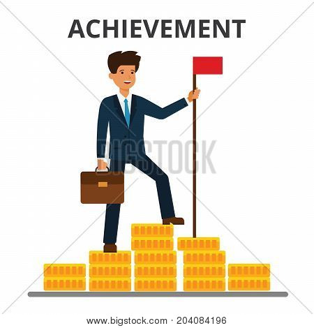 Businessman achieved flag on the top of money mountain