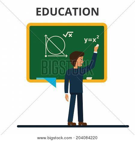 Student, pupil standing in front of math school blackboard. School teacher, professor teaching lesson. Flat vector illustration isolated on white background.