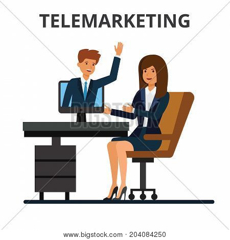 Telemarketing, online sales, business conference, video calling. Internet communication technology. Businessman and businesswoman chatting in web. Flat vector illustration isolated on white background.