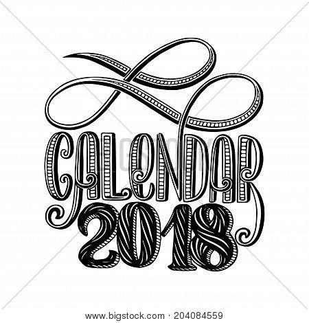 2 0 1 8 calendar cover, lettering composition vector illustration