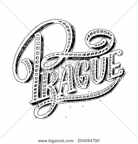 Prague modern hand written brush lettering, isolated on white background. Ink calligraphy. Capital of Czech Republic. Tee shirt print, typography card, poster design. Vector illustration.