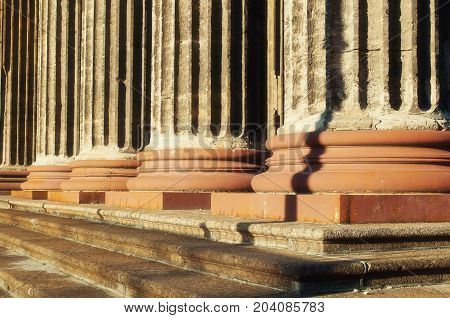 Architecture background of Kazan Cathedral colonnade in St Petersburg Russia. Closeup of St Petersburg Russia architecture landmark
