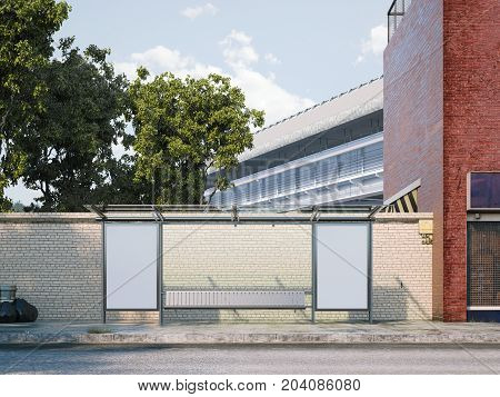 Mockup of blank vertical banner on a bus stop in city. 3d rendering