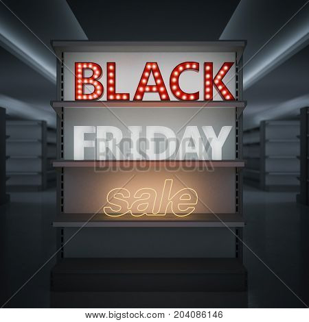 Empty shelves in a store with glowing black friday sale sign. 3d rendering
