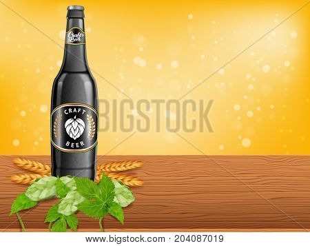 Realistic beer products ad. Vector 3d illustration. Dark craft beer bottle template design. Alcoholic drink brand glass bottle advertisement poster layout.