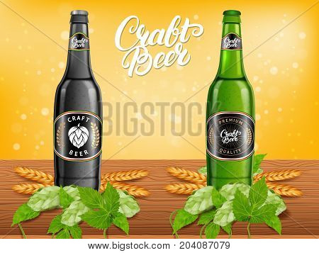 Realistic beer products ad. Vector 3d illustration. Dark and light craft beer bottle template design. Alcoholic drink brand glass bottle advertisement poster layout.
