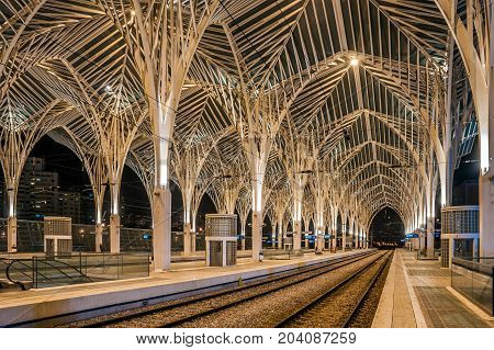 Lisbon, Portugal - November, 28 2016: Night view of the arches inside of the Oriente Station