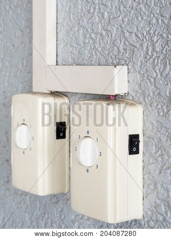 Twin switch panel for control the orbit fan in the urban house.