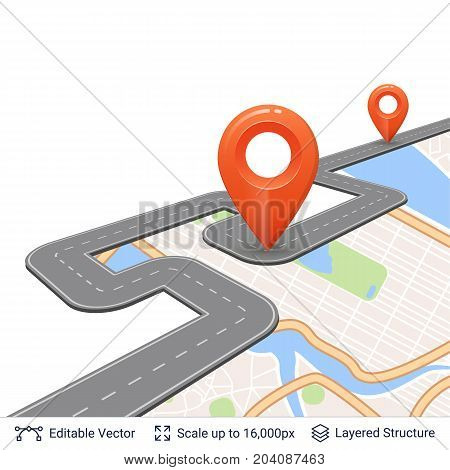 Map street plan backdrop and navigation elements. Vector illustration easy to edit.